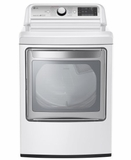 "DLGX7601WE LG 27"" 7.3 Cu. Ft. Ultra Large Capacity High Efficiency Gas Steam Dryer with EasyLoad Door - White"