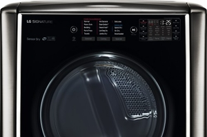"DLGX9501K LG Signature 29"" 9.0 cu. ft. TurboSteam Series Gas Dryer with 14 Drying Programs and Speed Dry - Black Stainless Steel"