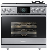 "DOP36M94DLS Dacor 36"" Contemporary Pro Natural Gas Dual-Fuel Steam Range with Griddle - Stainless Steel"