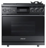 """DOP36M94DPM Dacor 36"""" Contemporary Pro Liquid Propane Dual-Fuel Steam Range with Griddle - Graphite Stainless Steel"""