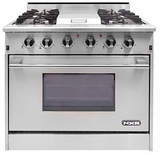 "DRGB3601LP NXR 36"" Professional Range with Four Burners, Griddle, Convection Oven - Liquid Propane - Stainless Steel"