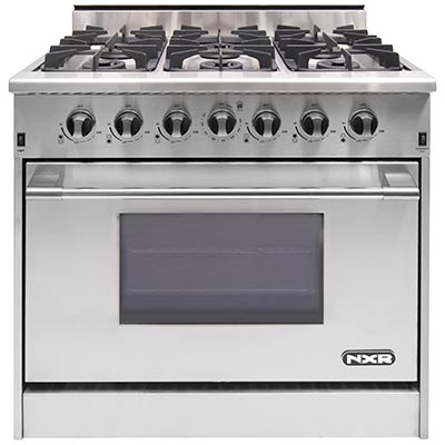 "DRGB3602LP NXR 36"" Professional Gas Range with Six Burners and Convection Oven - Liquid Propane - Stainless Steel"