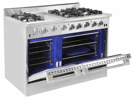 "DRGB4801LP NXR 48"" Professional Gas Range with Six Burners, Griddle, and Convection Oven - Liquid Propane - Stainless Steel"