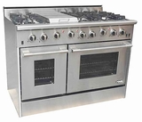 "DRGB4801 NXR 48"" Professional Gas Range with Six Burners, Griddle, and Convection Oven - Natural Gas - Stainless Steel"