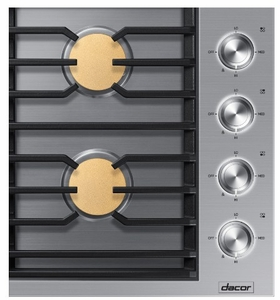 "DTG30M954FS Dacor 30"" Contemporary Natural Gas Cooktop with 4 Sealed Brass Burners and Illunmina Knobs - Stainless Steel"