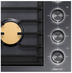 "DTG36M955FM Dacor 36"" Contemporary Natural Gas Cooktop with Illumina Knobs and Diamond-Like Carbon Finish - Graphite Stainless Steel"