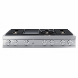 "DTT48M976LS Dacor 48"" Modernist Gas Rangetop with Illumina Knobs and Dual-Stacked Burners - Stainless Steel"