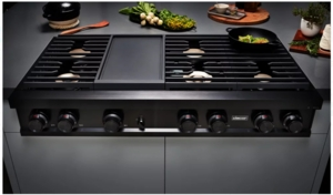 """DTT48M976PM Dacor 48"""" Contemporary Liquid Propane Gas Rangetop with Illumina Knobs and Electric Griddle - Graphite Stainless Steel"""