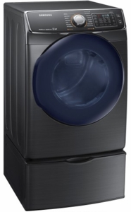"""DV45K6500GV 27"""" 7.5 cu. ft. Gas Dryer with 14 Dry Cycles and  Multi-Steam Technology - Black Stainless"""