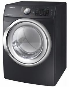 """DVE45N5300V Samsung 27"""" Front Load 7.5 cu. ft. Electric Dryer with Multi Steam Technology and Sensor Dry - Black Stainless Steel"""