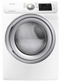 "DVE45N5300W Samsung 27"" Front Load 7.5 cu. ft. Electric Dryer with Multi Steam Technology and Sensor Dry - White"