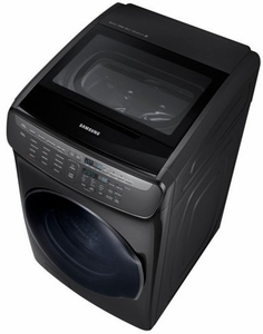 "DVE55M9600V Samsung 27"" 7.5 cu. ft. Capacity Electric Front Load Dryer With FlexWash and SteamWash - Black Stainless Steel"