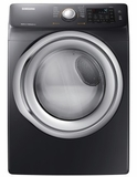 "DVG45N5300V Samsung 27"" Front Load 7.5 cu. ft. Gas Dryer with Multi Steam Technology and Sensor Dry - Black Stainless Steel"