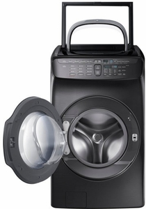 """DVG55M9600V Samsung 27"""" 7.5 cu. ft. Capacity Gas Front Load Dryer With FlexWash and SteamWash - Black Stainless Steel"""