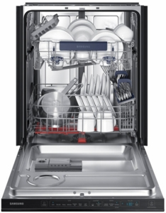"""DW80M9550UG Samsung 24"""" Top Control Dishwasher with WaterWall Technology and AutoRelease Door - Black Stainless Steel"""