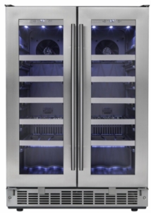"DWC047D1BSSPR Danby Silhouette 24"" Napa French Door Wine Cooler  with Proglide Shelving System and LED Interior Display Lights - Stainless Steel"