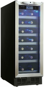 "DWC276BLS Danby Silhouette Pecorino 12"" Built-in Wine Cooler with Electric LED Screen Displays and LED Lighting - Stainless Steel"