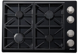"""DYCT304GBNG Dacor 30"""" Discovery Gas Cooktop with 4 Burners and Die Cast Knobs - Natural Gas - Black"""
