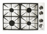 """DYCT304GWNG Dacor 30"""" Discovery Gas Cooktop with 4 Burners and Die Cast Knobs - Natural Gas - White"""