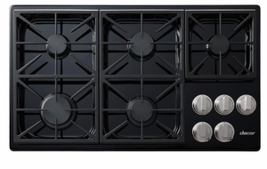 "DYCT365GBLP Dacor 36"" Discovery Gas Cooktop with 5 Burners and Die Cast Knobs - Liquid Propane - Black"