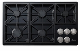 """DYCT365GBNG Dacor 36"""" Discovery Gas Cooktop with 5 Burners and Die Cast Knobs - Natural Gas - Black"""
