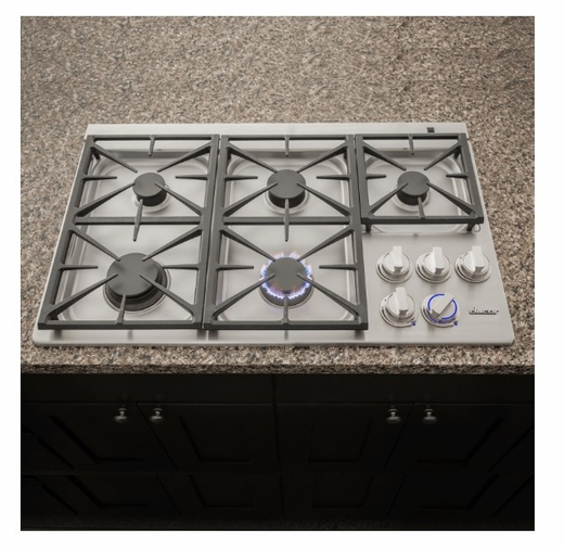 "DYCT365GSLP Dacor 36"" Discovery Gas Cooktop with 5 Burners and Die Cast Knobs - Liquid Propane - Stainless Steel"