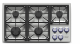 """DYCT365GSNG Dacor 36"""" Discovery Gas Cooktop with 5 Burners and Die Cast Knobs - Natural Gas - Stainless Steel"""