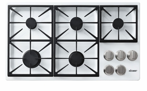 "DYCT365GWLP Dacor 36"" Discovery Gas Cooktop with 5 Burners and Die Cast Knobs - Liquid Propane - White"