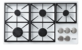 """DYCT365GWNG Dacor 36"""" Discovery Gas Cooktop with 5 Burners and Die Cast Knobs - Natural Gas - White"""