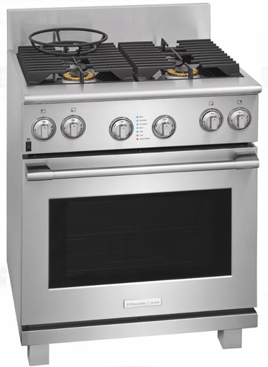 "E30GF74TPS 30"" Electrolux Icon Professional Series Natural Gas Freestanding Range with CustomConvect Technology and Smooth Glide Oven Racks - Stainless Steel"