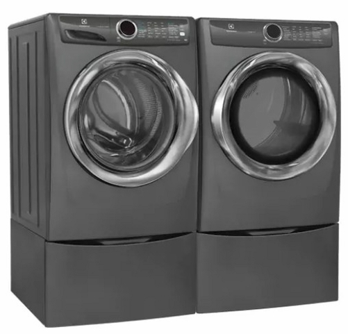 EFME627UTT 27 Electric Dryer and Two EPWD257UTT Pedestal Electrolux Titanium Front Load Laundry Pair with EFLS627UTT 27 Washer