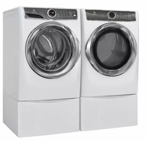Electrolux White Front Load Laundry Pair with EFLS627UIW 27 Washer and EFME627UIW 27 Electric Dryer