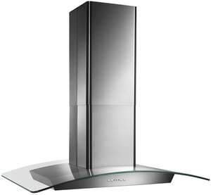 "EI5936SS Broan 36"" Curved Glass Canopy Island Hood with 500 CFM Internal Blower and and HeatSentry - Stainless Steel"