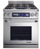 "ER30DSCHLP Dacor Rennaissance 30"" Freestanding Dual Fuel Pro Style Range - Liquid Propane - Stainless Steel with Chrome Trim"