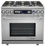 """ER36DSCHNG Dacor Renaissance 36"""" Pro Style Dual Fuel Range - Natural Gas - Stainless Steel with Chrome Trim"""
