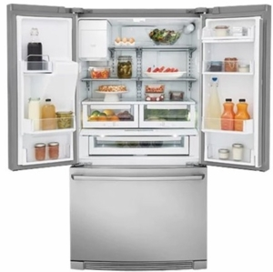 "EW23BC87SS Electrolux 36"" 21.5 cu. ft. Capacity Counter Depth French Door Refrigerator with Wave-Touch Controls and Humidity Controlled Crispers - Stainless Steel"
