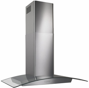 "EW5636SS Broan 36"" Curved Glass Canopy Wall Mount Chimeny Range Hood with 500 CFM Internal Blower and and HeatSentry - Stainless Steel"
