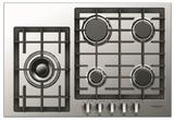 "F4GK30S1 Fulgor 30"" 400 Series Built-In Frontal Knob Gas Cooktop with Heavy Duty Cast Iron Grates and European Sealed Burners - Stainless Steel"