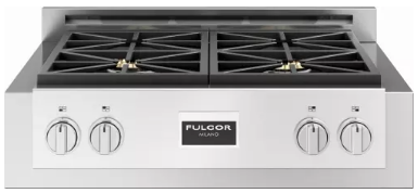 "F6GRT304S1 Fulgor Milano 30"" Gas Rangetop with 4 Sealed Dual Flame 18,000 BTU Burners and Continuous Cast Iron Grates - Stainless Steel"