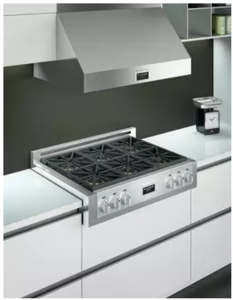 "F6GRT366S1 Fulgor Milano 36"" Gas Rangetop with 6 Sealed Dual Flame 18,000 BTU Burners and Continuous Cast Iron Grates - Stainless Steel"