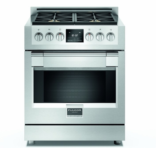 "F6PDF304S1 30"" Fulgor Milano Sofia 600 Series Dual Fuel Freestanding Range with 4 Sealed Burners and Dual-Fan Convection - Stainless Steel"