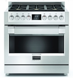 "F6PGR366S1 36"" Fulgor Milano Sofia 600 Series Natural Gas Freestanding Range with 6 Sealed Burners and Dual-Fan Convection - Stainless Steel"