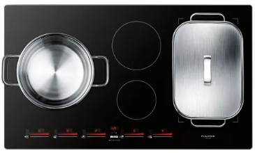 "F7IT36S1 Fulgor Milano 36"" Induction Cooktop with 4 Magnetic Burners and Sleek Frame - Black"