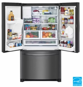 """FFHB2750TD Frigidaire 36"""" 27.19 cu. ft. French Door Refrigerator with Multi Level LED Lighting and Dual Ice Ready - Black Stainless Steel"""