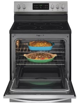 """FGEF3036TF Frigidaire 30"""" Gallery Series Freestanding Electric Range with Steam Cleaning and Quick Bake Convection - Smudge Proof Stainless Steel"""