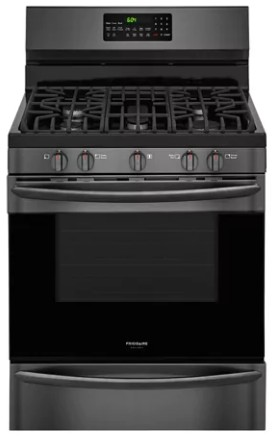"FGGF3059TD Frigidaire Gallery 30"" Freestanding Gas Range with True Convection and Quick Preheat - Black Stainless Steel"