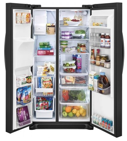 "FGSS2635TE Frigidaire 36"" Gallery Series 25.5 Cu. Ft Side by Side Refrigerator with Pure Air Ultra Filters and Store-More Glass Shelves - Black"