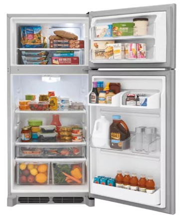 "FGTR1842TF Frigidaire 30"" 18.0 Cu. Ft. Top Mount Refrigerator with Spill Safe Shelves and Custom-Flex Door Bins - Stainless Steel"
