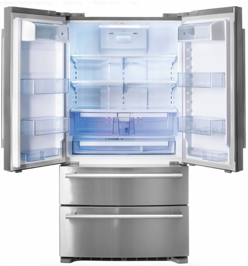 "FM36CDFDS1 Fulgor Milano 36"" French Door Refrigerator with Digital Controls and Automatic Ice Maker - Stainless Steel"