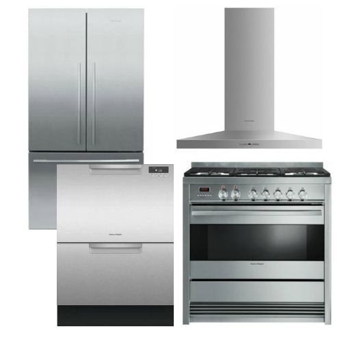 Package FPAY2 - Fisher & Paykel Appliance Package - 4 Piece Appliance Package with Gas Range - Stainless Steel